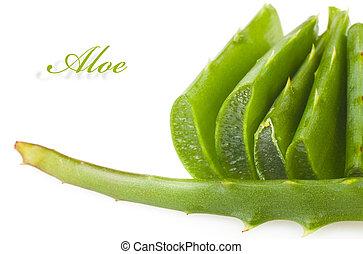aloe leaves - Sliced aloe leaves isolated on white...