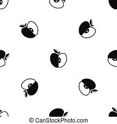Sliced apple pattern seamless black