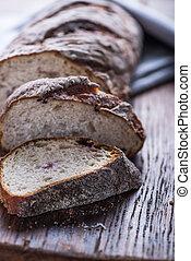 Sliced artisan bread loaf