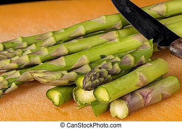Sliced Asparagus on a cutting board