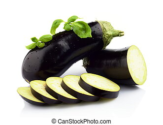 Sliced aubergine, eggplant with basil leaves isolated white