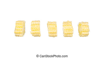 Sliced baby corns isolated on white
