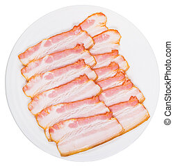 sliced bacon on white plate