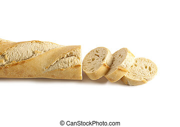 A sliced of baguette in a horizontal image