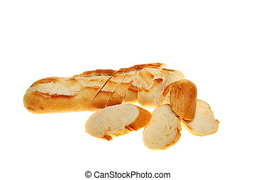 Crusty baguette bread roll cut into slices isolated against white