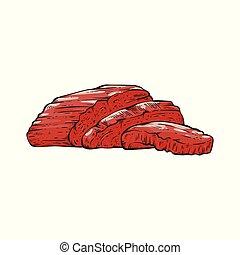 Sliced beef tenderloin slices of red meat. Beef meat ...