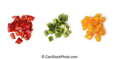 Sliced bell pepper, chopped tricolor ?olorful bulgarian pepper. Three heap of red, green and yellow separately isolated on white background. Top view.