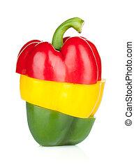 Sliced bell pepper - Colorful sliced bell pepper. Isolated...