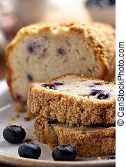 Sliced Blueberry Streusel Loaf Bread - Closeup of sliced ...