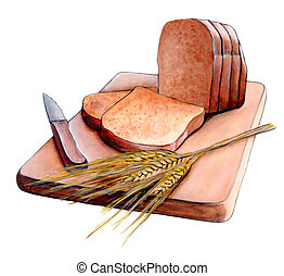 Sliced bread - Fresh sliced bread and wheat on a wood...
