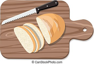 Sliced Bread on Slicing board with knife. Vector illustration.
