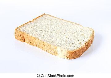 Sliced bread on white background.