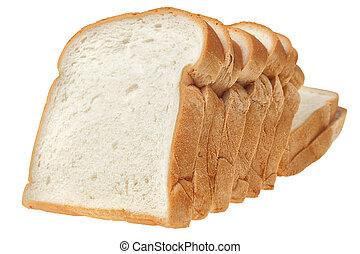 Sliced bread on white background