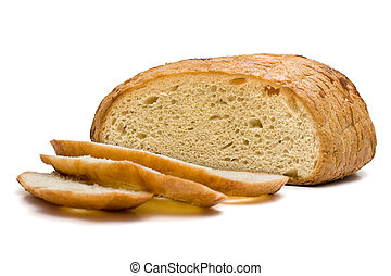 Sliced white bread and several slices (isolated on white)