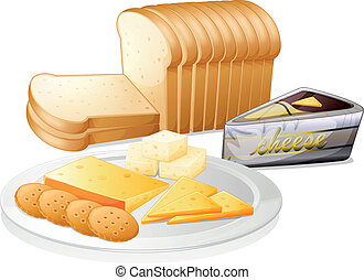 Sliced bread with cheese and biscuits - Illustration of the...
