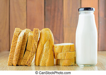 Sliced breads with a bottle of milk.