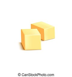Sliced butter or margarine blocks mockup realistic vector illustration isolated on white background. Baking and cooking diary ingredient template for packaging.