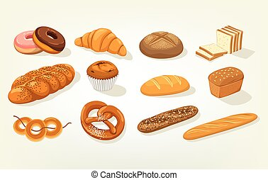 Sliced butterbrot bread and baguette, cake - Set of bread...