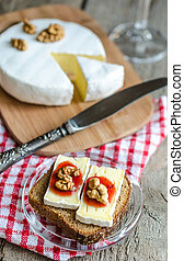 Sliced camembert on the bread