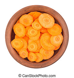 Sliced carrots isolated on white background.