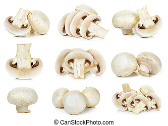 Sliced Champignon mushroom isolated - Set Champignon...