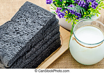 Sliced Charcoal bread black bread.