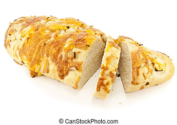 Sliced Cheese and Onion Bread, isolated on white