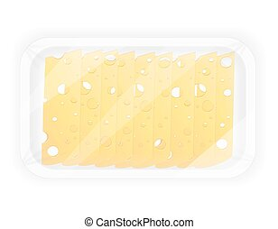 sliced cheese in the package vector illustration