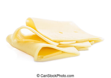 Sliced Cheese (isolated on white) - Sliced Cheese (detailed...