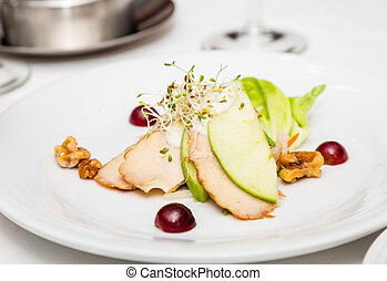 Sliced Chicken and Apple Appetizer