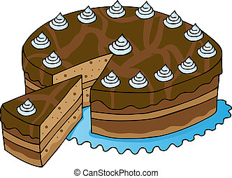 Sliced chocolate cake - vector illustration.