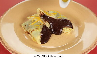 Sliced Chocolate Crepe Suzette - Sliced chocolate crepe...