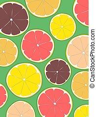 Sliced citrus fruits, orange, lime, lemon and grapefruit