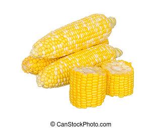 Sliced corns isolated on white