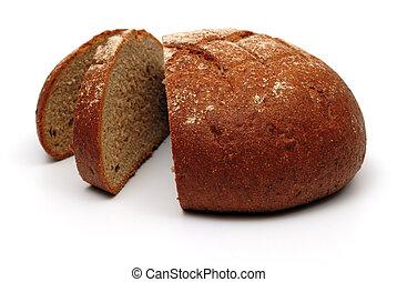 Sliced dark bread on white background