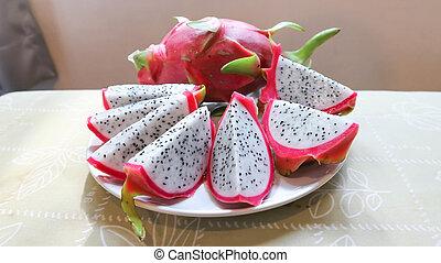 sliced dragon fruit dish