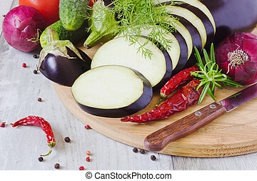 sliced eggplant and other vegetables