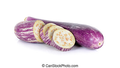 Sliced eggplant isolated on a white