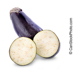sliced eggplant isolated on white background
