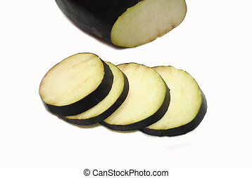 Sliced Eggplant Isolated Over a White Background