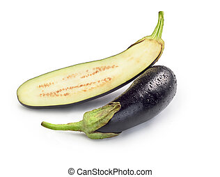 sliced eggplant on white background