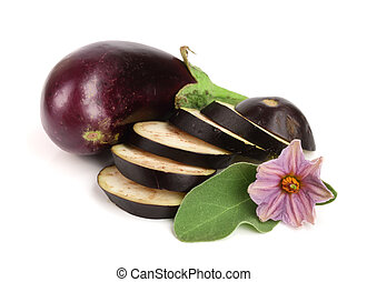 sliced eggplant or aubergine vegetable with flower isolated on white background