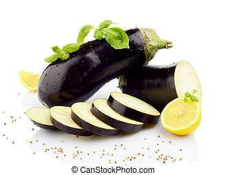 Sliced eggplants basil leaves, lemons, black pepper isolated white