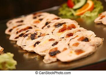 sliced filled meat rolls on plate