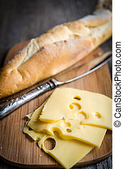 Sliced french baguette and cheese