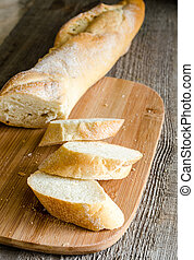 Sliced french bread baguette