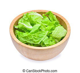 sliced fresh chinese cabbage in wooden bowl isolated on a white background