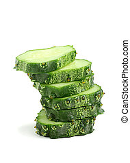 Sliced ??fresh cucumber.