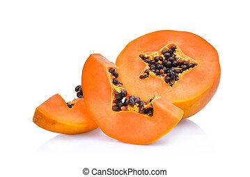 sliced fresh papaya isolated on white background