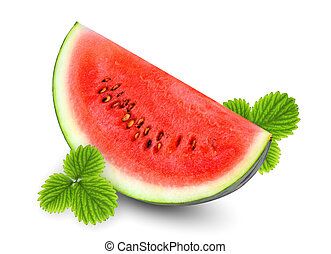 sliced fresh watermelon with green leaf isolated on white background